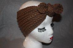 Brown Top Knot Crochet Women's Ear Warmer by SisterHippies on Etsy