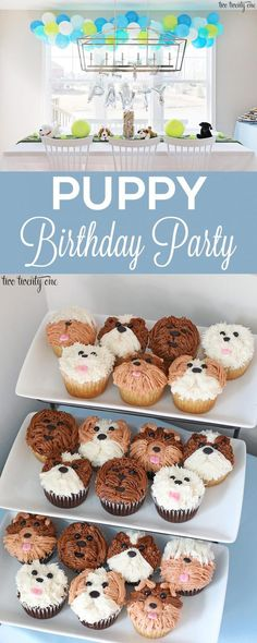 Puppy Birthday Party - - Puppy birthday party for a one year old boy! Lots of great ideas for throwing a puppy birthday party! Puppy birthday cake, puppy decorations, and more! Puppy Birthday Cakes, Dog First Birthday, Puppy Birthday Parties, Themed Birthday Cakes, Puppy Party, Kids Birthday Themes, Dog Party Themes, Theme Ideas, Party Ideas Kids