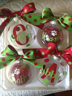 Make one special photo charms for you, compatible with your Pandora bracelets. Found the perfect ribbon for the Christmas Ornaments I made with vinyl cut with my Silhouette Cameo for my grandkids and their doggies. Vinyl Christmas Ornaments, Christmas Toys, Christmas Projects, Christmas Bulbs, Christmas Decorations, Christmas Ideas, Ornaments Ideas, Painted Ornaments, Diy Weihnachten