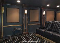 Elegant home theater designed by Rob Dzedzy. Theater Room Decor, Home Theater Room Design, Home Cinema Room, Home Theater Rooms, Media Room Design, Basement Inspiration, Salon Interior Design, Inside Home, Art Deco Home
