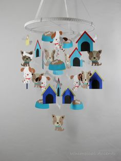 Puppy and Bone Baby Mobile by whimsicalaccents on Etsy. Perfect for all dog lovers!