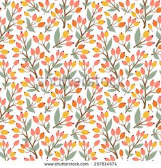 Vector floral seamless pattern with branches of sea buckthorn. Bright berries and leaves on the white background. Natural hand drawn texture.