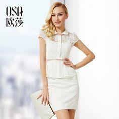 New Hot!  Women's Pencil Skirt Summer Hollow Package Hip Skirt Set Slim Lace twinset Plus Size, 1 shirt + 1 Skirt SL410187 $64.99