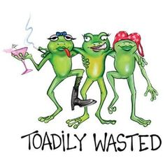 Toadily Wasted Girl Frogs - T-Shirt Funny Frogs, Cute Frogs, Frog Pictures, Funny Pictures, Frogs Preschool, Frosch Illustration, Frog Quotes, Frog Meme, Frog Drawing