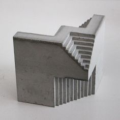 """Canadian architect and sculptor David Umemoto creates architectural sculptures that remind us giant concrete monuments in the former Yugoslavia countryside, or """"giant brutalist buildings reduced… Concrete Sculpture, Concrete Art, Concrete Design, Cube Design, Grid Design, Design Art, Concept Models Architecture, Architecture Design, Brutalist Buildings"""
