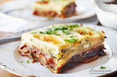 Zucchini Slice, Baked Eggplant, Bechamel Sauce, Greek Dishes, Moussaka, Sliced Potatoes, Fried Onions, Grated Cheese, Tomato Paste