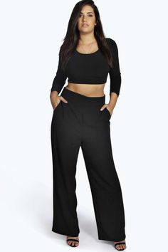 d255d42714841 Plus Leah High Waisted Wide Leg Trousers at boohoo.com 40 Pants For Women