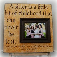 Personalized Bridesmaid Gift Picture Frame by thesugaredplums