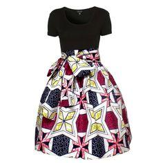 Meni African Print High Waist Full Skirt (White/Raspberry) ~African fashion, Ankara, kitenge, African women dresses, African prints, Braids, Nigerian wedding, Ghanaian fashion, African wedding ~DKK