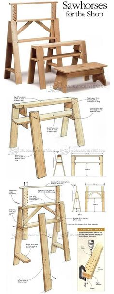 Sawhorses for The Shop - Workshop Solutions Plans, Tips and Tricks - Woodwork, Woodworking, Woodworking Plans, Woodworking Projects Woodworking Vise, Woodworking Workshop, Woodworking Projects Plans, Woodworking Classes, Lumber Storage, Diy Workbench, Shop Layout, Wood Tools, Diy Wood Projects