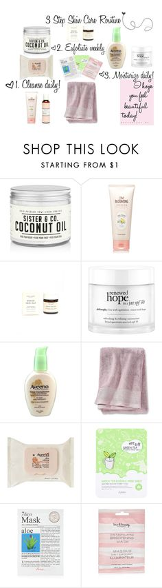 """""""Simple Everyday Skin Care Routine Video!"""" by ladylikecharm ❤ liked on Polyvore featuring beauty, Sister & Co., Etude House, One Love Organics, philosophy, Aveeno, Nate Berkus and Forever 21"""