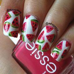 mireyaaxo #nail #nails #nailart Watermelon Nail Designs, Watermelon Nail Art, Pretty Nail Designs, Nail Art Designs, Cute Nails, Pretty Nails, Hair And Nails, My Nails, Nancy Nails