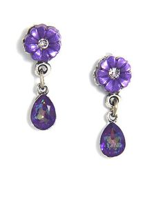 NWT ANNE KOPLIK FLOWER TEARDROP SWAROVSKI CRYSTAL PIERCED EARRINGS PURPLE
