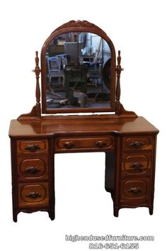 DAVIS CABINET Lillian Russell Solid Walnut 50u2033 Dresser Table / Vanity /  Desk .