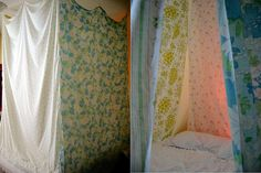Three dimensional patchwork - DIY canopy made with vintage sheets by daintytime, via Flickr