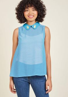 AdoreWe - ModCloth Flavor Fusion Collared Sleeveless Top in Pineapple in 4X - AdoreWe.com
