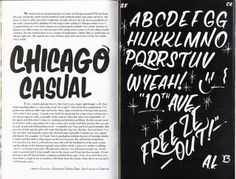 "Page spread from ""How to Paint Signs  Influence People - Volume 2: Casual Lettering"", 2013 by Colt Bowden 
