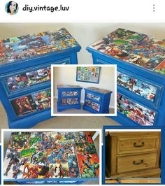 Diy chalk painted Modge pod super hero night stands . Follow IG @diy.vintage.luv