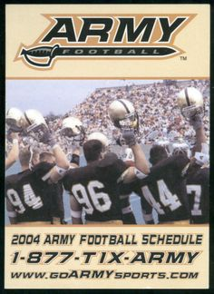 2004 ARMY BLACK KNIGHTS FOOTBALL POCKET SCHEDULE FREE SHIPPING EX+NM CONDITION #SCHEDULE