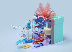 Create key visuals for 20 Levels Games Omaraqil CRStudio Japan Advertising, Creative Advertising, Booth Design, Ad Design, Graphic Design, Drug Packaging, Magazine Design Inspiration, 3d Model Character, Behance