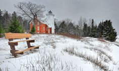 40 mile point lighthouse, beacon, bench, front page explore, geotagged, lake huron, lighthouse, michigan historical marker, michigan lighthouses, michigan nut, photography, presque isle county, recent, rogers city michigan, snow, usa, winter