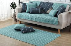 ZebraSmile 1 Piece Various Sizes Cotton Sofa Towel Cover Decrotive Sofa Cover Antiskid Sofa Slipcover for Sofa Seat/Sofa Arm Sofa Seats, Sofa Bed, Sectional Sofa, Sofa Slipcovers, Diy Sofa Cover, Couch Covers, Pull Out Sofa, Blue Rooms, How To Make Bed