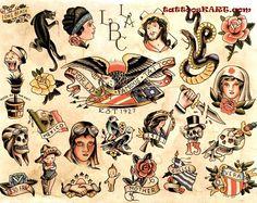 Clair, Sailor Jerry, Owen Jenson And Friends Flash Art Tattoos, Traditional Ink, Traditional Tattoo Flash, Sailor Jerry Tattoo Flash, Sailor Tattoos, Vintage Tattoo Design, Americana Tattoo, Hawaiianisches Tattoo, Tattoo Drawings