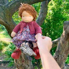 Simone - a 14''/35 cm tall Handmade Waldorf Doll | > Available Dolls | MonPilou Organic Cleaning Products, Mohair Yarn, Crochet Collar, Liberty Fabric, Waldorf Dolls, Sheep Wool, Fair Skin, Hand Knitting, Doll Clothes
