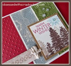 Obsessed with Scrapbooking: [Video]Frosted Christmas Card-Warm Winter Wishes