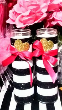 Black and white stripe Candle Stripe Candle centerpiece 2 image 5 Bridal Shower Centerpieces, Candle Centerpieces, Quinceanera Centerpieces, Simple Centerpieces, Vases, My Funny Valentine, Valentines, Kate Spade Party, Chanel Party