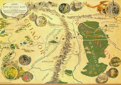 Illustrated map for The Hobbit by Pauline Baynes