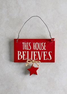 Christmas Wooden Hanging Sign (14cm x 8cm)