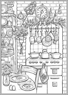 Printable Adult Coloring Pages, Free Coloring Pages, Coloring For Kids, Coloring Sheets, House Colouring Pages, Dream Catcher Coloring Pages, Creative Haven Coloring Books, Buch Design, Country Charm