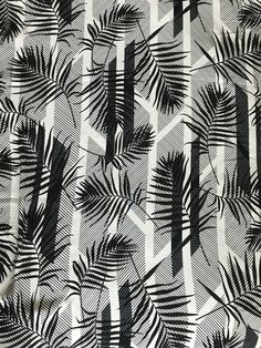 Ecru/Black Palm Leaves Rayon Crepe - Sew Much Fabric Palm leaves are always a favorite print for summer!
