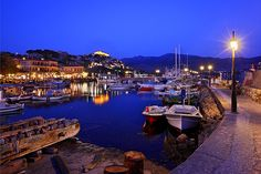 A night at the small harbour of Molyvos, Lesvos, North Aegean_ Greece