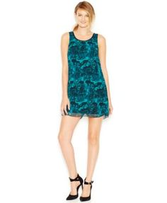 kensie Sleeveless Printed Shift Dress poly deep teal combo, paprika combo szXS 44.99 Sale thru 11/24 20%off thru 11/11 (35.99)