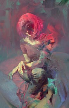 Amanita by JeromeBirti, Digital Painting, Art, Portrait, Woman, Pink Hair, Alternate, Inspirational Art