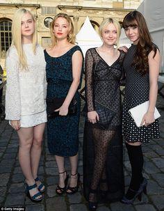 Elle Fanning, Haley Bennett, Dakota Fanning and Hailee Steinfeld at Louis Vuitton show.