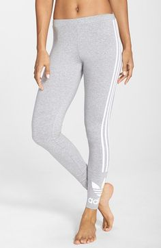 f18d4e2466f54 adidas Originals Trefoil 3-Stripes Leggings available at #Nordstrom Womens  Workout Outfits, Sport