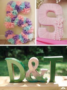 Letras con pompones de lana letras 3d letras - Ideas decorativas para cumpleanos ...