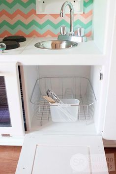 Vintage Entertainment Center turned Play Kitchen