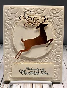 Hello Stamper Friends, Tonight I had to get some cards ready for a hostess that is having a Stamp A Stack Card Class next Tuesday. All her guest will make 16 cards, 4 each of 4 different cards. Die Cut Christmas Cards, Stamped Christmas Cards, Homemade Christmas Cards, Stampin Up Christmas, Xmas Cards, Holiday Cards, Men's Cards, Christmas Deer, Christmas 2019