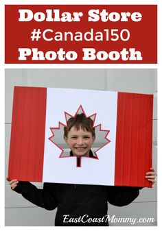 Canada Day photo booth... made from dollar store supplies. #DollarStoreCraft #ECMCanada150 #CanadaDay