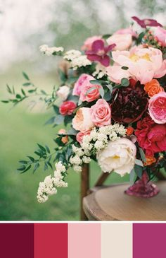 A lush centerpiece with burgundy, pinks and a touch of purple. Source: Elizabeth Anne Designs #burgundy #centerpiece #colorpalette