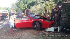 Ferrari 458 Italia crashed in Bloemfontein, South Africa Ferrari 458, South Africa, Super Cars, City, Blessed, Italia, Cities