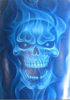 Blue Flame Skull Urn