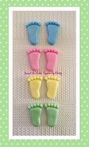 12 X Pairs 24 Feet BIG Baby Feet 4cm Cupcake Cake Decorations Baby Shower | eBay