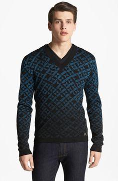 Versace | Geometric Print V-Neck Sweater