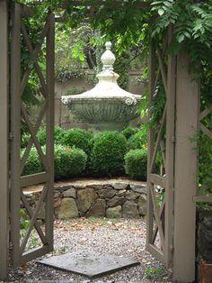 Lush boxwood garden