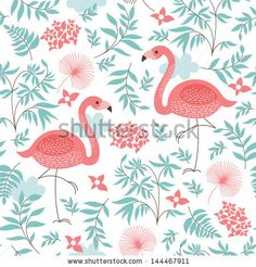seamless pattern with a pink flamingo by LenLis, via ShutterStock